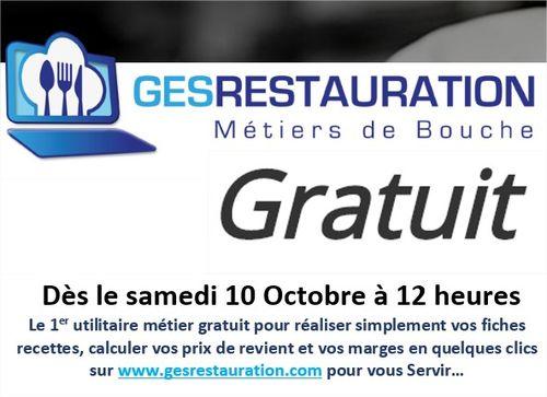 GesRestauration Gratuit - Sortie officielle ce jour 10 octobre 2020 à 12 heures